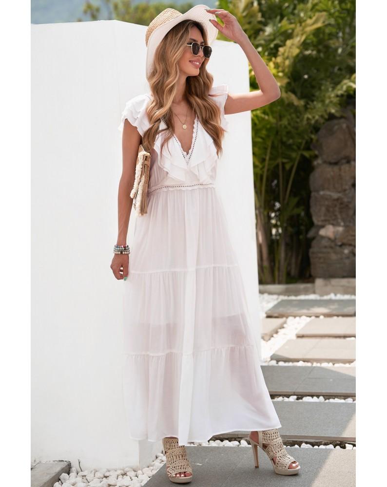 White Lace Splicing Ruffled Deep V Neck Maxi Dress