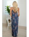 Blue Crochet V Neck Sleeveless Floral Print Pockets Maxi Dress
