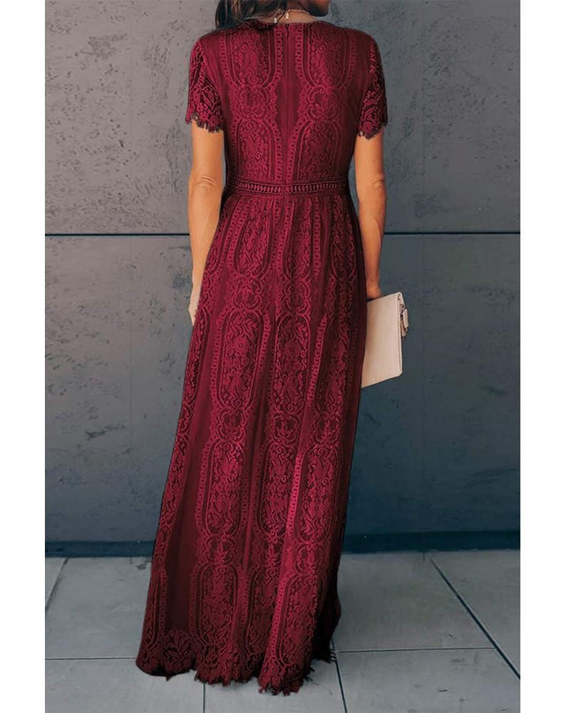Burgundy Deep V Neck Short Sleeve Lace Maxi Dress