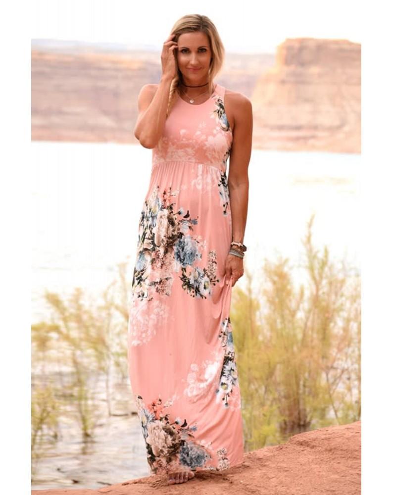 Pink Floral High Waist Maxi Dress