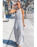 Halter Neck Sleeveless Cutout Tiered Striped Maxi Dress