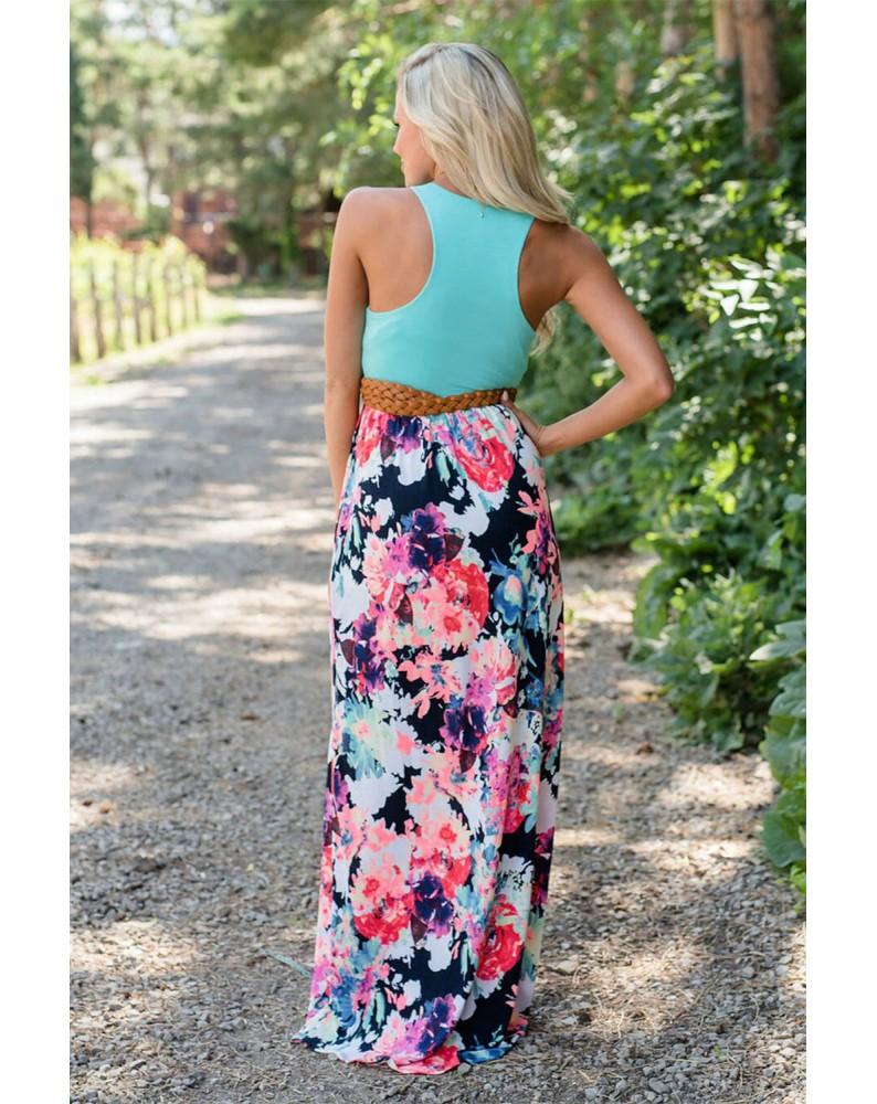 Plain Tank Splicing Floral Skirt Maxi Dress