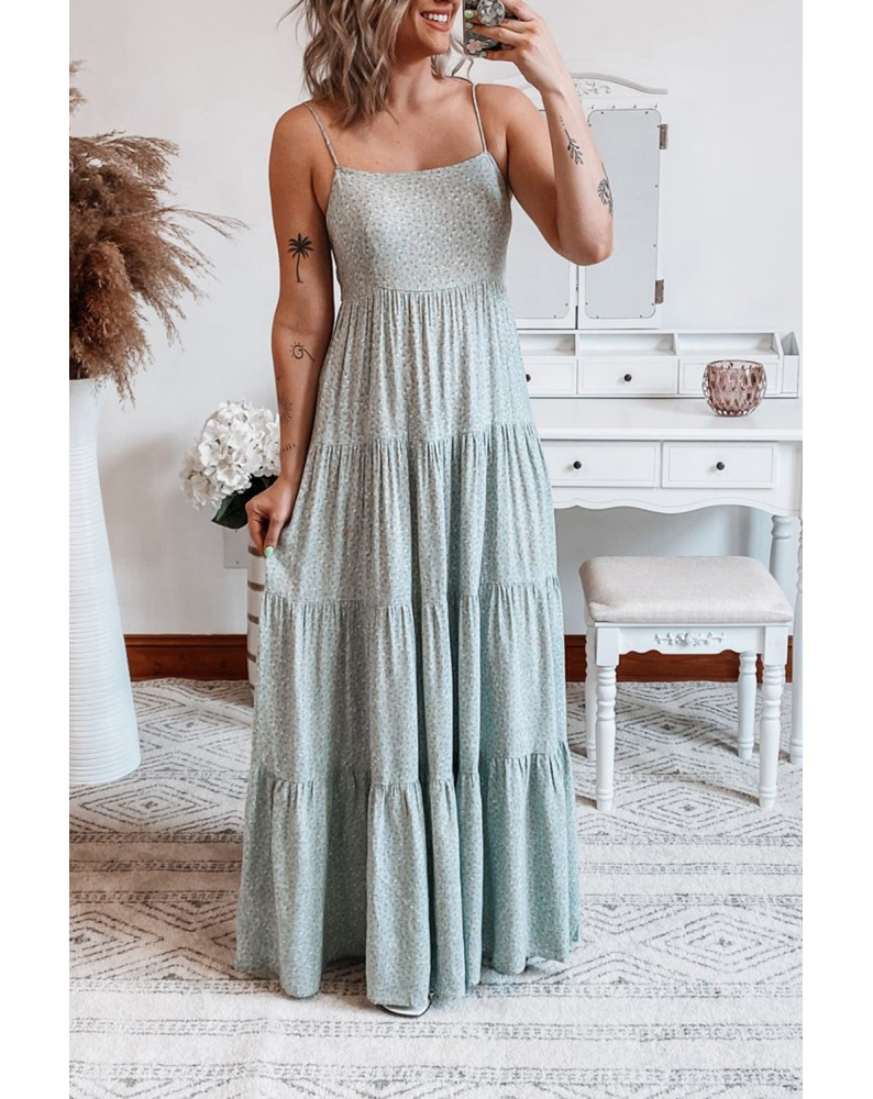 Spaghetti Straps Floral Print Tiered Maxi Dress