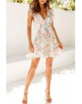 Floral Print Ruffle Sleeveless Tie Waist Mini Dress
