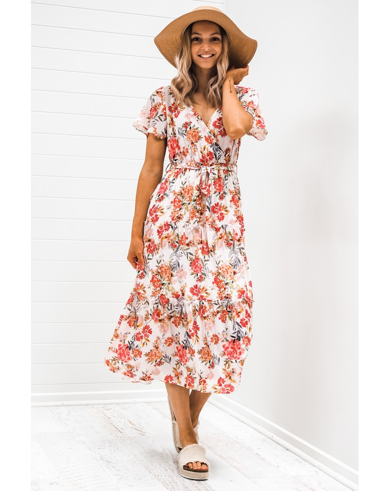 Floral Warp V-Neck Short Sleeve Midi Dress
