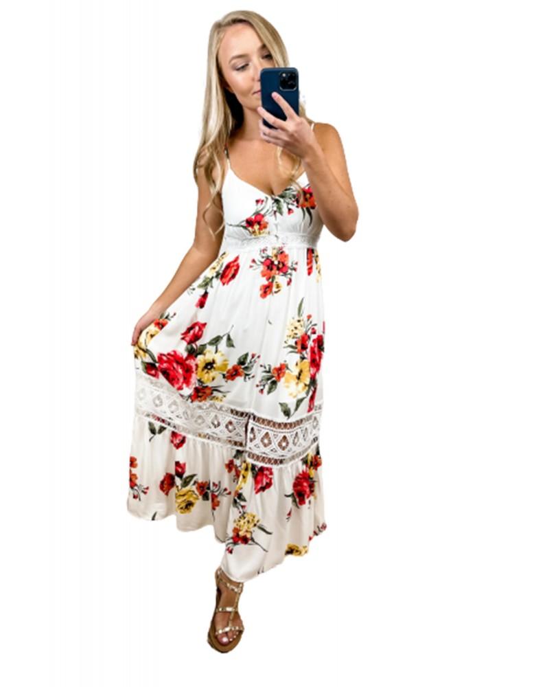 Spaghetti Straps Lace Insert Floral Maxi Dress