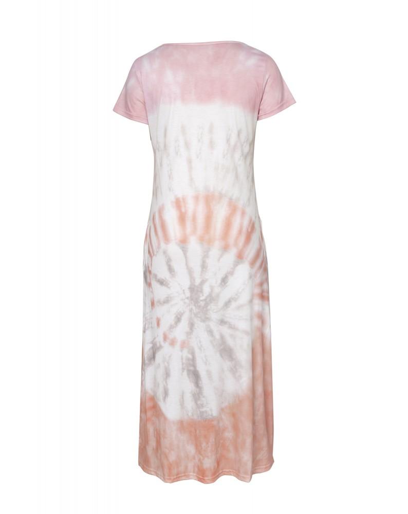 Orange Tie-dye V Neck T-shirt Maxi Dress with Slits