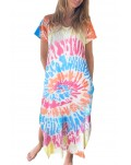 Multicolor Tie-dye V Neck T-shirt Maxi Dress with Slits