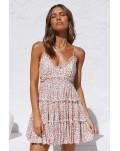 Spaghetti Straps V Neck Smocked Swing Floral Dress