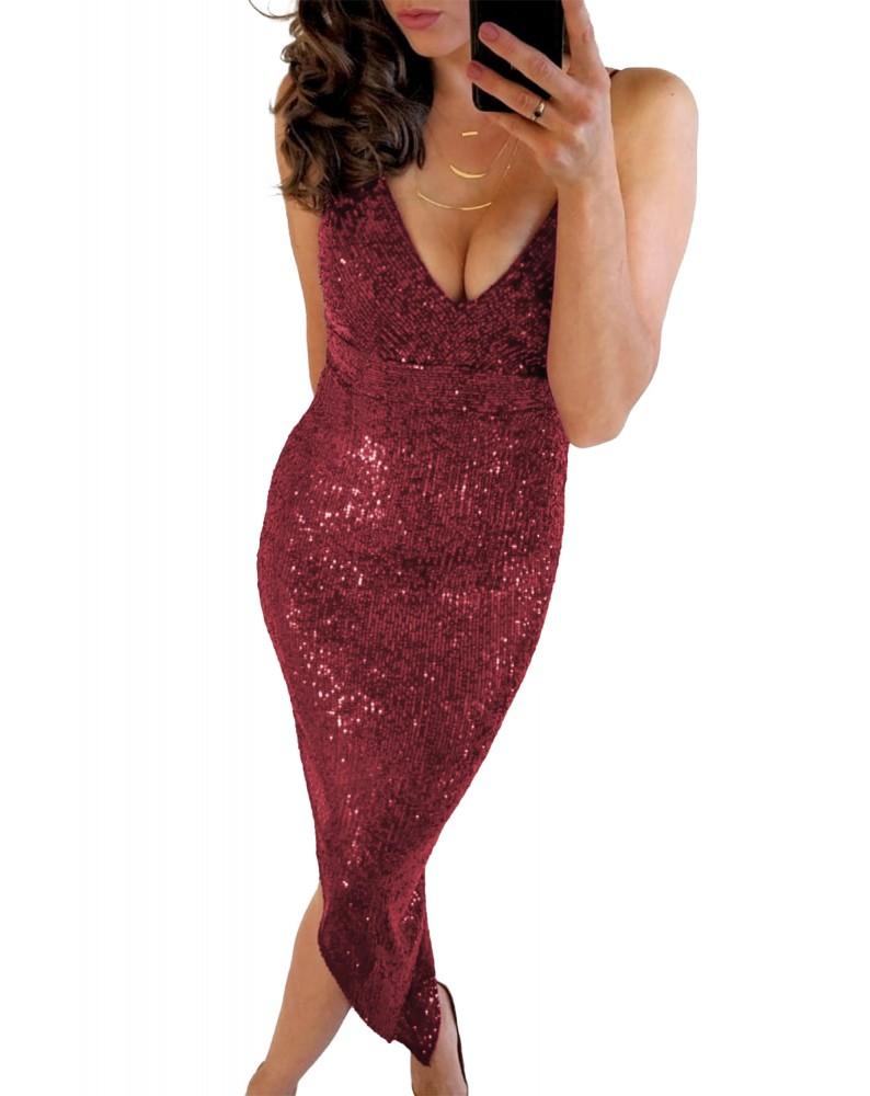 Red V Neck Bodycon Sequin Dress