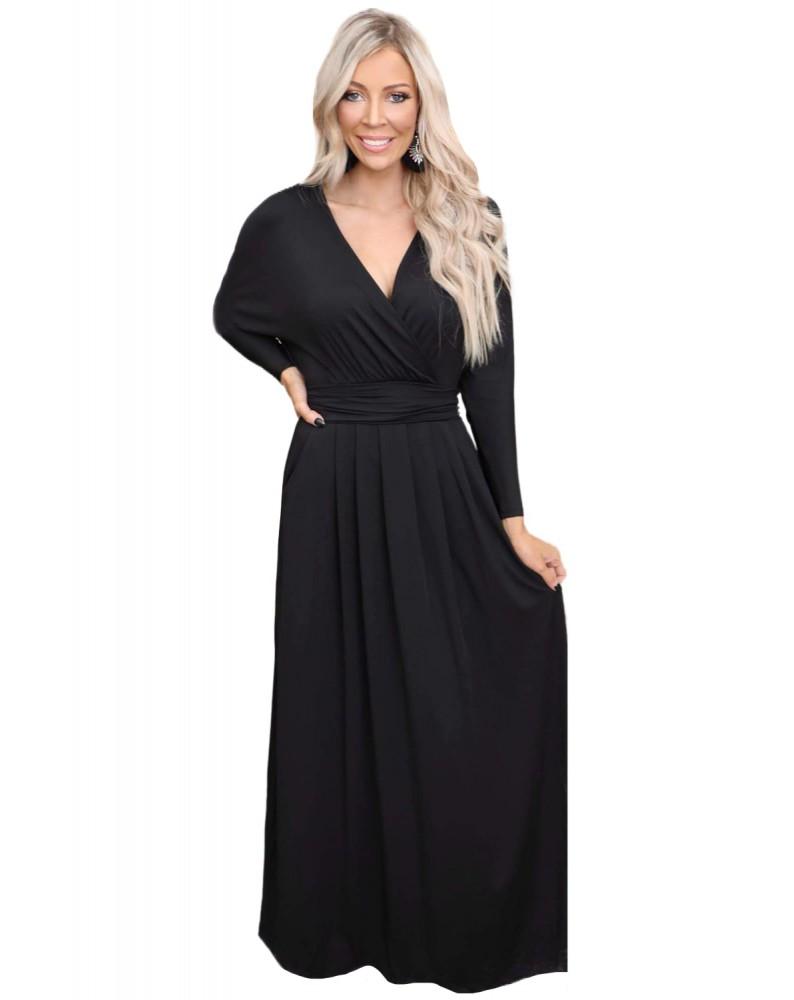 Black Wrap V Neck Dolman Sleeve Pleated Maxi Dress