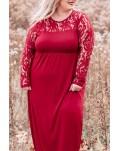 Red Plus Size 3/4 Lace Sleeve Yoke Maxi Dress
