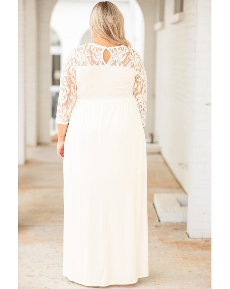 White Plus Size 3/4 Lace Sleeve Yoke Maxi Dress
