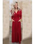 Red Wrap V Neck Dolman Sleeve Pleated Maxi Dress