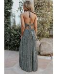 Black Pocketed Printed Halter Backless Maxi Dress