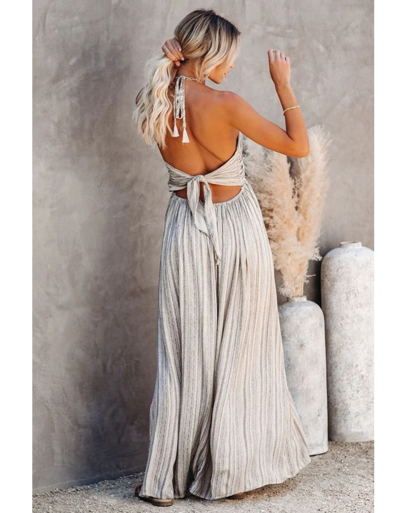 White Pocketed Printed Halter Backless Maxi Dress