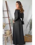 Black V Neck Batwing Sleeve Maxi Dress
