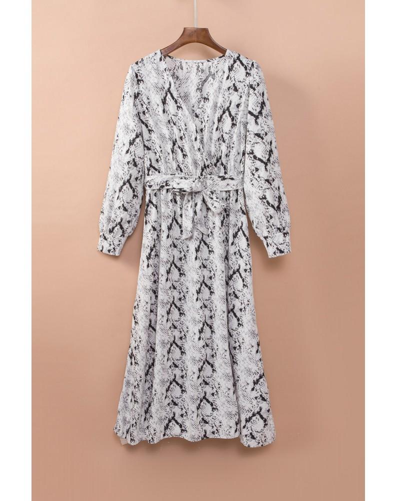 Gray Sexy V Neck Cuffed Sleeve Snakeskin Maxi Dress